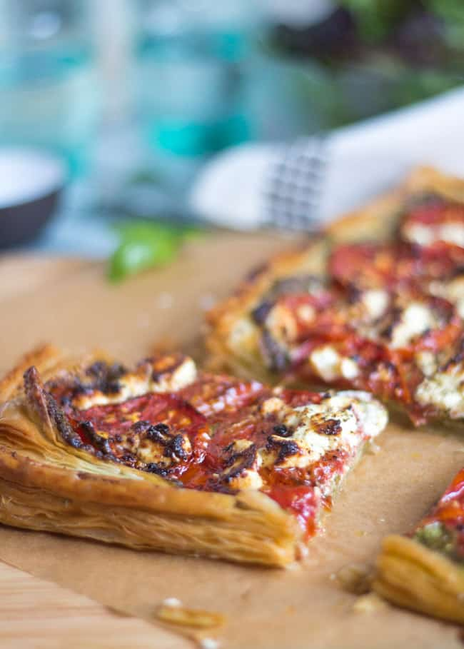 Tomato, Pesto and Goats Cheese Tart