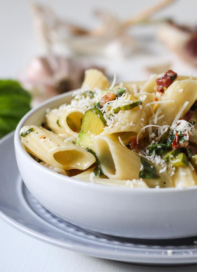 Zucchini & Pancetta Pasta.  A great way to use up a zucchini glut. | thecookspyjamas.com