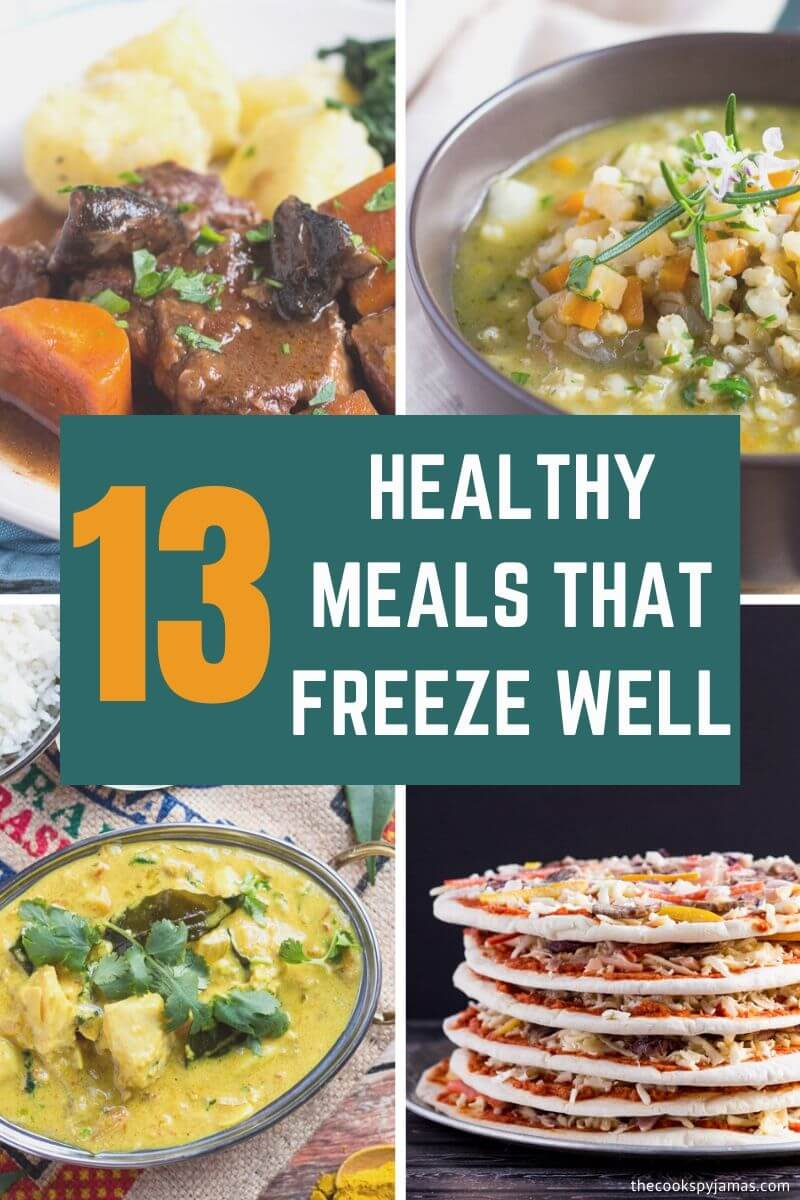 Header Collage Image for 13 Healthy Meals That Freeze Well post.