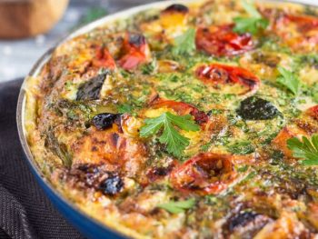 Super Easy 20 Minute Leftover Roasted Vegetable Frittata
