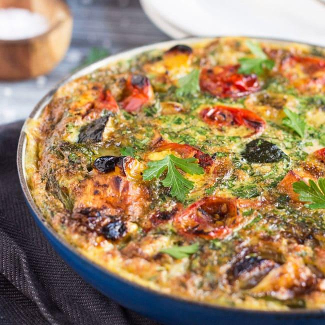 Super Easy 20 Minute Leftover Roasted Vegetable Frittata