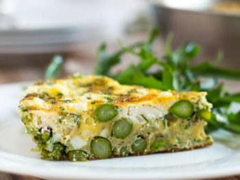 A slice of asparagus & goats cheese frittata.