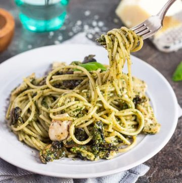 Chicken & Mushroom Pesto Pasta. This absurdly simple meal comes together in the time it takes to cook the pasta. Dinner is ready in under 30 minutes.