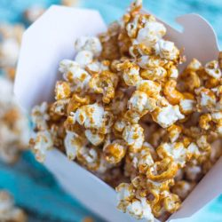 Coconut Maple Caramel Popcorn. The caramel is made with unrefined sugars, yet is just as moreish as any made with white sugar.