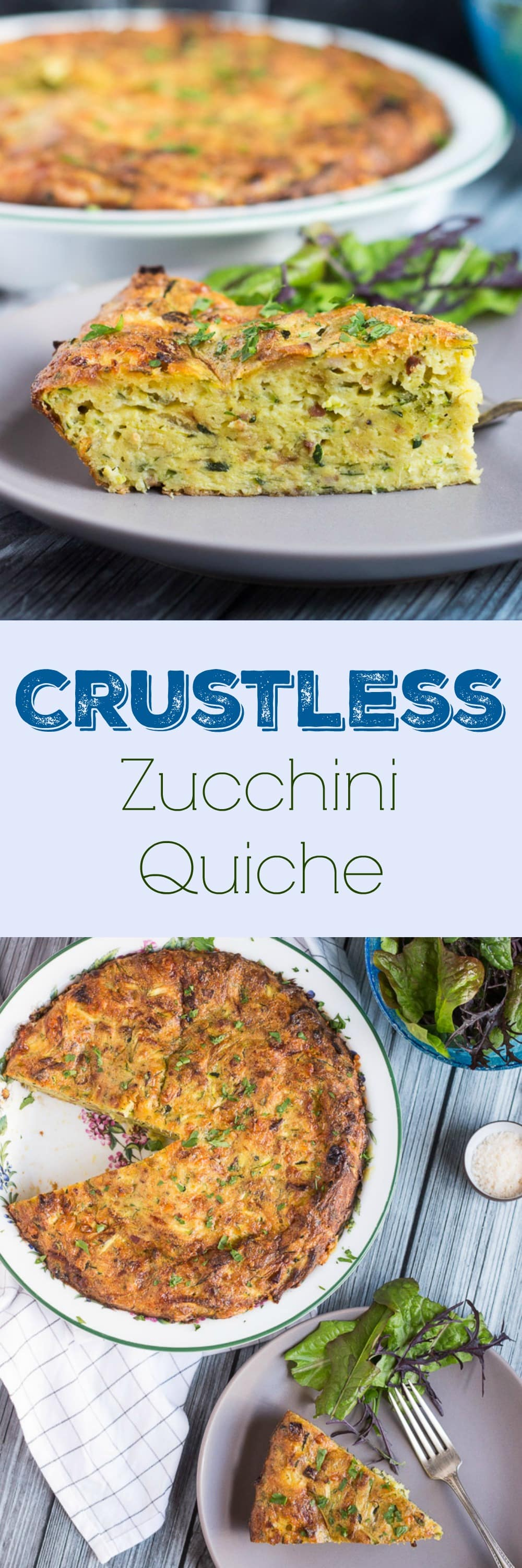 Crustless Zucchini Quiche. Quick to make, & a good way to use up an abundant zucchini crop. Great served hot or cold.