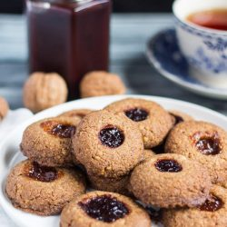 Gluten Free Thumbprint Cookies. These nutty, flavourful cookies, with their glorious jammy centre, are perfect for your next afternoon tea.
