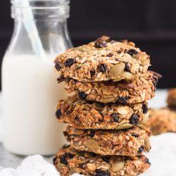 Stack of Healthy Grab & Go Banana Breakfast Cookies.