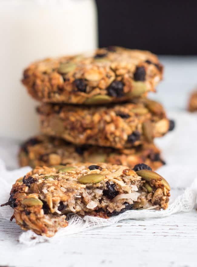Half eaten Healthy Grab & Go Banana Breakfast Cookies.