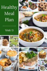 Healthy Weekly Meal Plan - Week 13. Includes skinny chicken stuffed sweet potatoes, Cajun spiced vegetables or an easy sausage and vegetable sheet pan dinner.