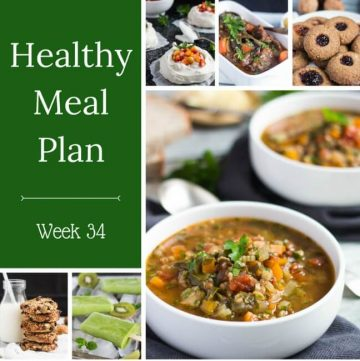Healthy Weekly Meal Plan Week 34. Some great healthy food recipes, including a quick chicken zoodle skillet, stuffed mushrooms & a nourishing lentil bowl.