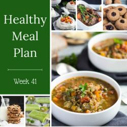Healthy Weekly Meal Plan Week 41. A plan full of healthy meal ideas for pumpkin. Use this versatile vegetable in soup, stew, popsicles and cheesecake bites.