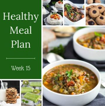 Healthy Weekly Meal Plan Week 15. Includes Ham & Cheese Pretzels, Italian Power Salad, & Chicken Frittata. And some not so healthy snacks to use up leftover Easter chocolate