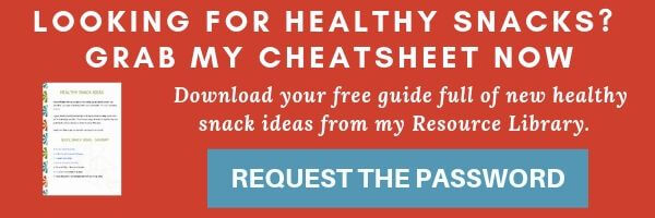 Red clickable opt in form for a healthy snacks guide.