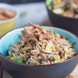 A Chinese noodle bowl full of fried rice, with crispy onions scattered on top.
