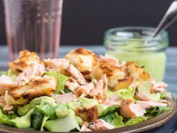 A Frugal Meal: 15 Minute Leftover Salmon Caesar Salad