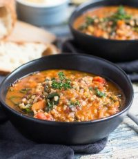 An Easy Yet Hearty Lentil & Brown Rice Soup Recipe