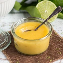 a pot of homemade lime curd