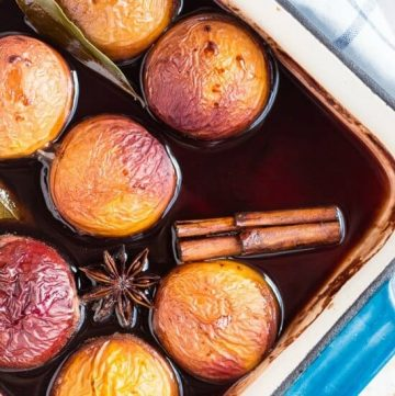 Oven Roasted Nectarines in Red Wine. The perfect make-ahead dessert for summer entertaining.
