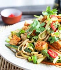 Crazy Delicious Nutty Soba Noodle Salad with Crispy Tempeh