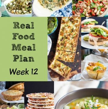 Real Food Meal Plan Week 12. Includes Swedish-style meatballs, lasagna, slow cooked vegetable soup, and a green chicken curry.