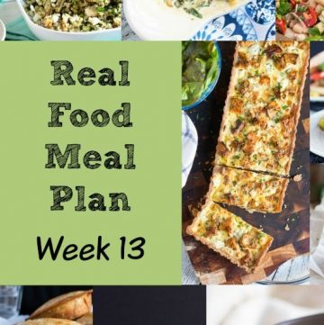 Real Food Meal Plan Week 13. Includes a simple chicken traybake, Shakshouka, Red Lentil & bacon soup and some hearty salmon fish cakes.