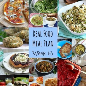 Real Food Meal Plan Week 16. Includes roast chicken, freezer friendly meatballs, a quick beef teriyaki stir fry and Cauliflower Cheese Soup.