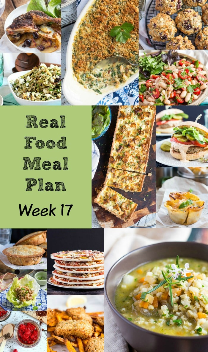 Real Food Meal Plan Week 17 2016. Includes an easy baked egg dish, butter chicken curry, fish pie, oven-baked spaghetti bolognaise & a cheesy soup.