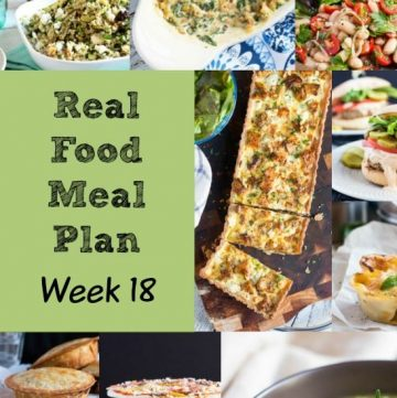 Real Food Meal Plan Week 18 2016. Includes Chicken & Mushroom Pesto Pasta, pan fried fish, Brown Rice & Lentil Soup, and homemade Beef & Mushroom Pot Pies.