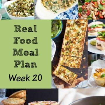 Real Food Meal Plan Week 20 2016 includes macaroni & cheese, cheesy cauliflower soup, chicken adobo with rice and a simple fish tray bake.