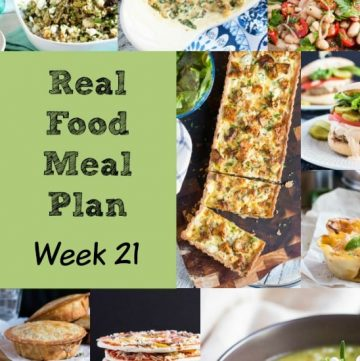 Real Food Meal Plan Week 21 includes shakshuka, a homey chicken rissole dish with sides, beef barley soup, broccoli pasta & an easy fish curry.