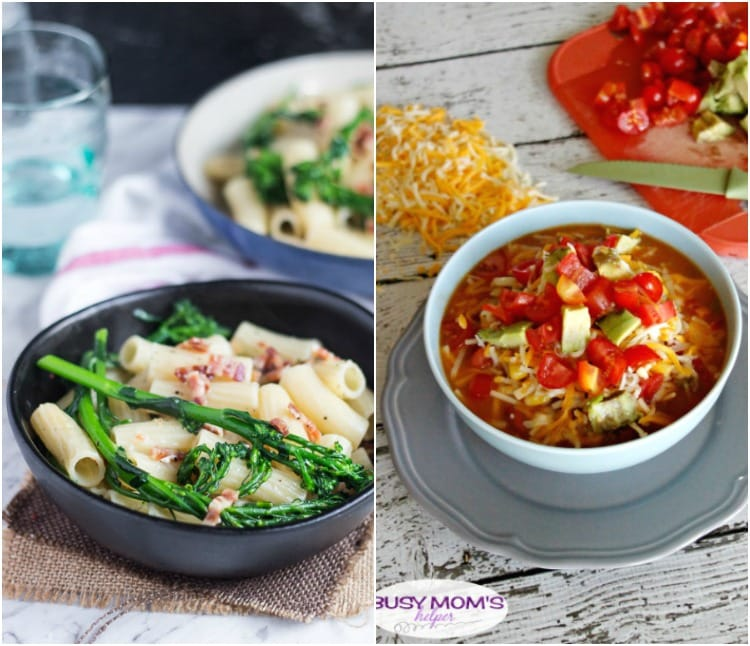 Real Food Meal Plan Week 25. Includes slow cooker Mongolian Beef, spicy noodle soup, sheet pan chicken & a simple broccoli pasta.