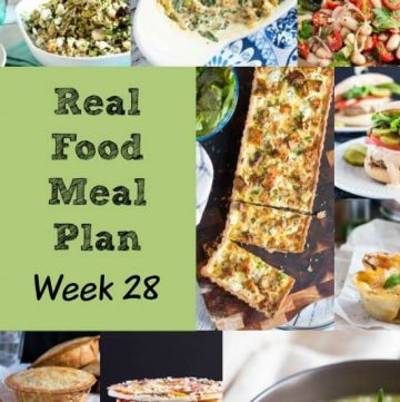 Real Food Meal Plan Week 28. Easy meals for the week before Christmas, including simple pastas, a quick pork dish, & stuffed sweet potatoes.