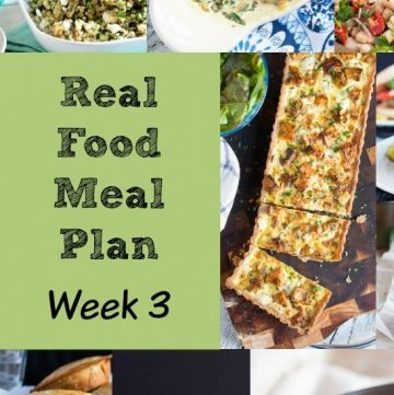 Real Food Meal Plan Week 3 2016. Chicken Caesar salad, Greek Salad, and Lemon Feta Zoodles, together with a quick fish curry and easy lamb koftas.