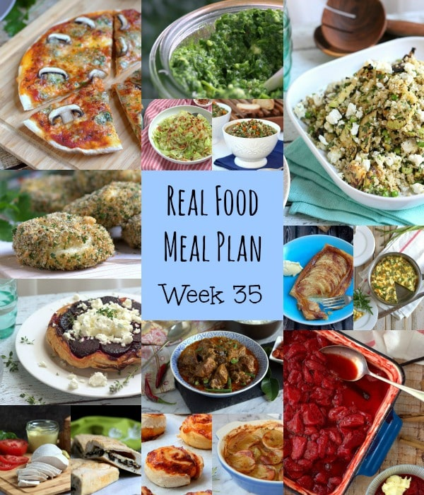 Real Food Meal Plan Week 35. Includes pan-fried Gnocchi, Sausage & Mushroom pot pie, slow cooker Teriyaki Chicken and Roasted Asparagus Pesto Pasta.