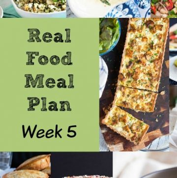 Real Food Meal Plan Week 5. Includes chicken schnitzel, smoked salmon salad, a simple stir fry & some tasty vegetarian patties.