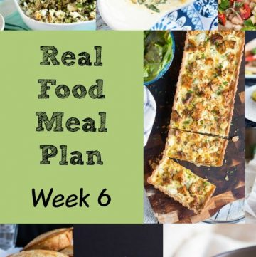 Real Food Meal Plan Week 6. Includes salads, a simple pasta dish, slow cooker butter chicken with rice, and fried rice from the leftovers.