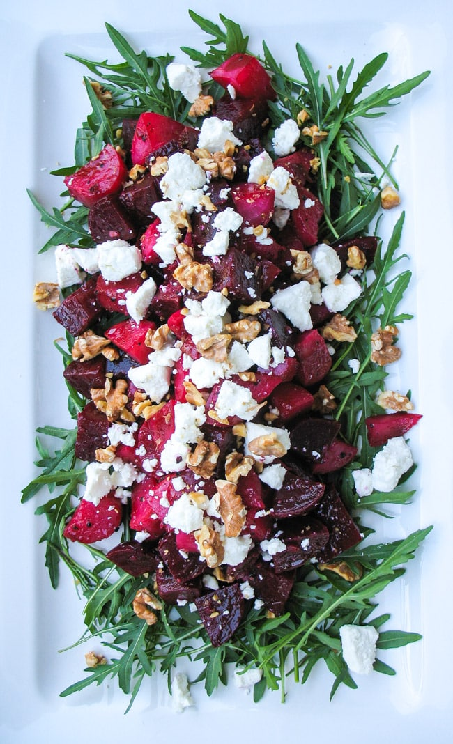 Roasted Beetroot Salad with Goat Cheese & Walnuts