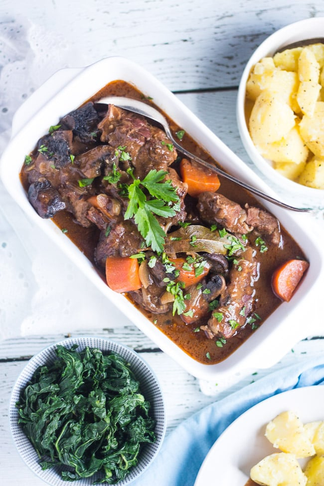 Slow Cooker Beef and Mushroom Stew. The perfect dinner for a cold winter's evening. Add a few simple sides for an easy meal without fuss.