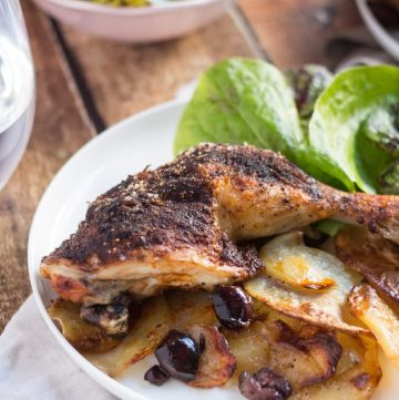 Spanish Chicken Traybake with Potatoes & Olives. A simple one-pot dinner.