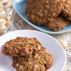 Spelt & Macadamia Anzac Biscuits. | thecookspyjamas.com