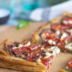 Tomato, Pesto & Goat's Cheese Tart. Easily feeds one or many.