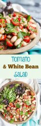 Tomato & White Bean Salad. An easy side dish that takes 10 minutes to make. Add some crusty bread and green leaves for a simple main meal.