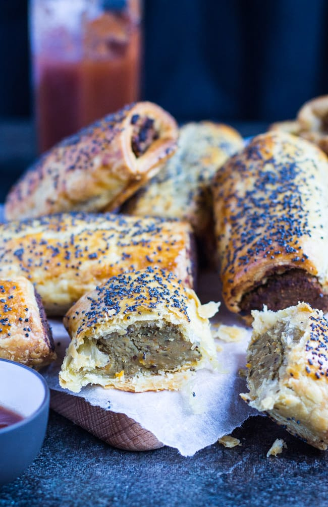 Vegetarian Sausage Rolls. Great hot or cold, and perfect for the lunchbox.