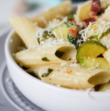 Zucchini & Pancetta Pasta. A great way to use up a zucchini glut. | thecookspyjamas.com